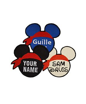 Pirate Mouse Shape Personalised Name Embroidered Patches