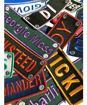 Personalised Rectangular Name Embroidered Sew On / Iron On Patches