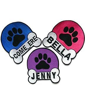 Personalised Paw & Bone Name Embroidered Dog & Cat Patches Iron On / Sew On / Hook On
