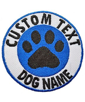 Personalised Round Paw  Embroidered Iron On / Sew On / Hook On Patch Cat & Dog Name