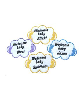 Personalised  Cloud Baby Name Embroidered Iron On / Sew On Patch