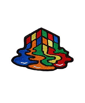 Melted Rubik's Cube Patch Embroidered Iron On / Sew On Patches