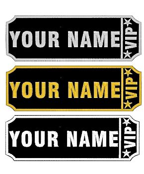 Personalised Embroidered Name VIP Patches