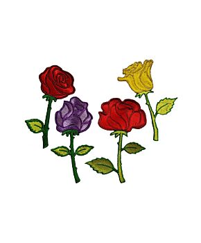 Rose Flower Patch Embroidered Iron On / Sew On Patches